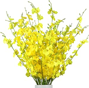 WLIXP Yellow Silk Flowers 12Pcs(33'') Artificial Faux Orchids for Wedding Home Office Indoor Outdoor, Not Include Vase