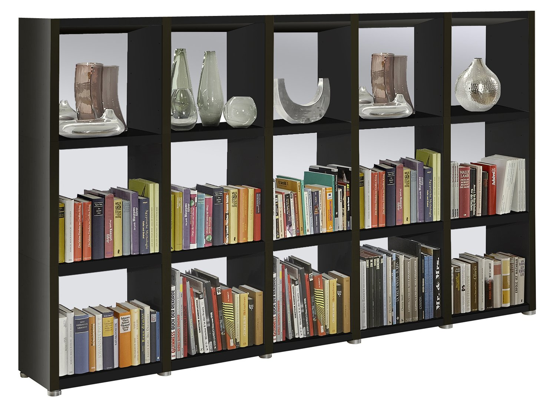 Bücherregal Raumteiler READY 35R in Schwarz mit Rückwand in ...