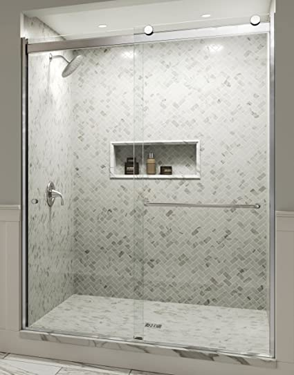 Basco Rotolo Sliding Shower Door Aquaglidexp Clear Glass Chrome