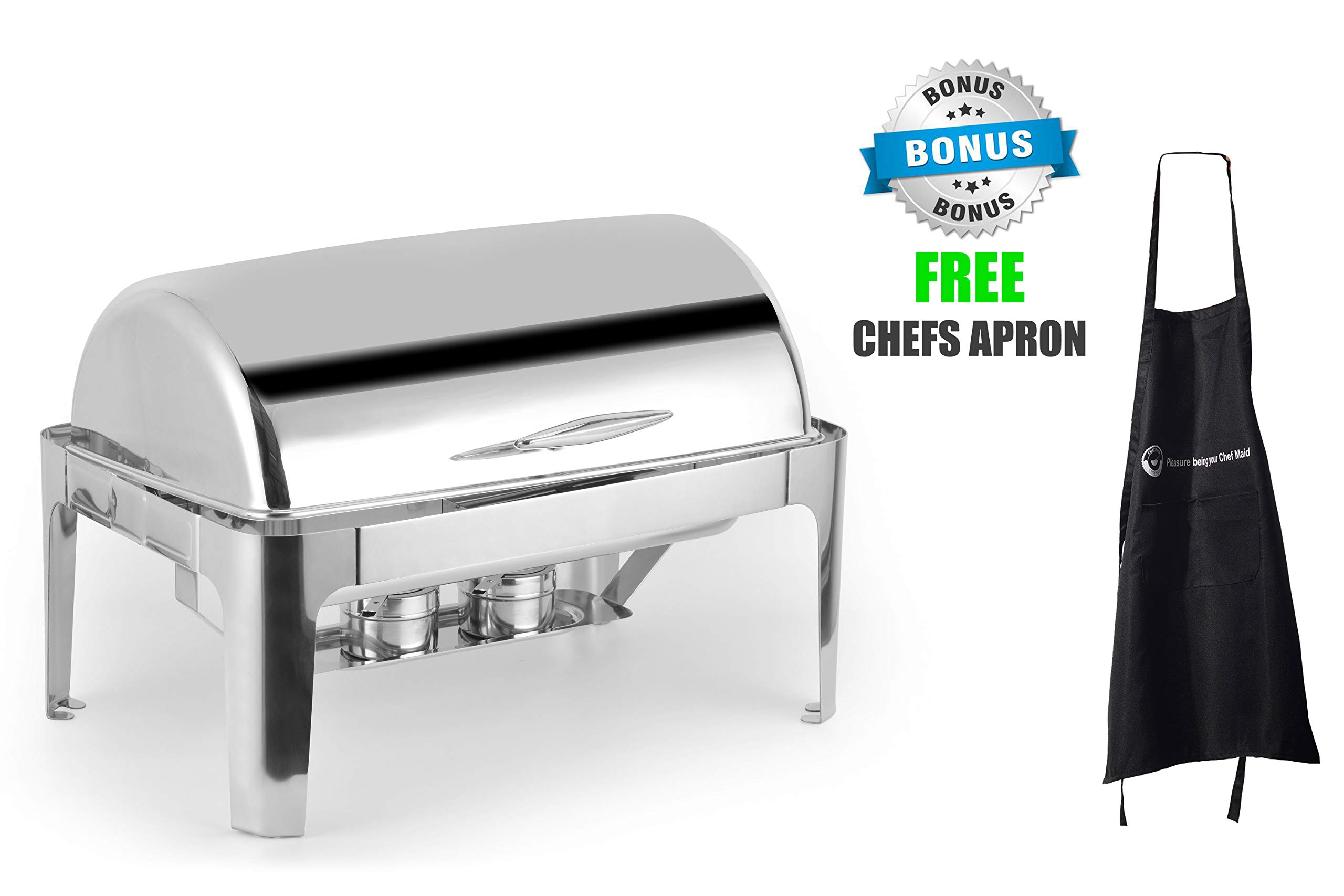Deluxe Chafer Dish - 8-quart capacity - Full-Size S/S - rectangular - Includes Food Pan, Water Pan and Fuel Holders - and durable, shiny silver, keeps food warm in catered events