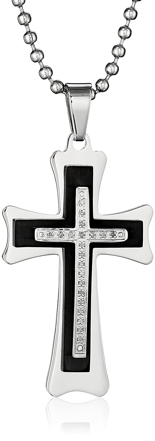 Cold Steel Men's Stainless Steel Black Immersion-Plated Diamond Cross Pendant Necklace, 24