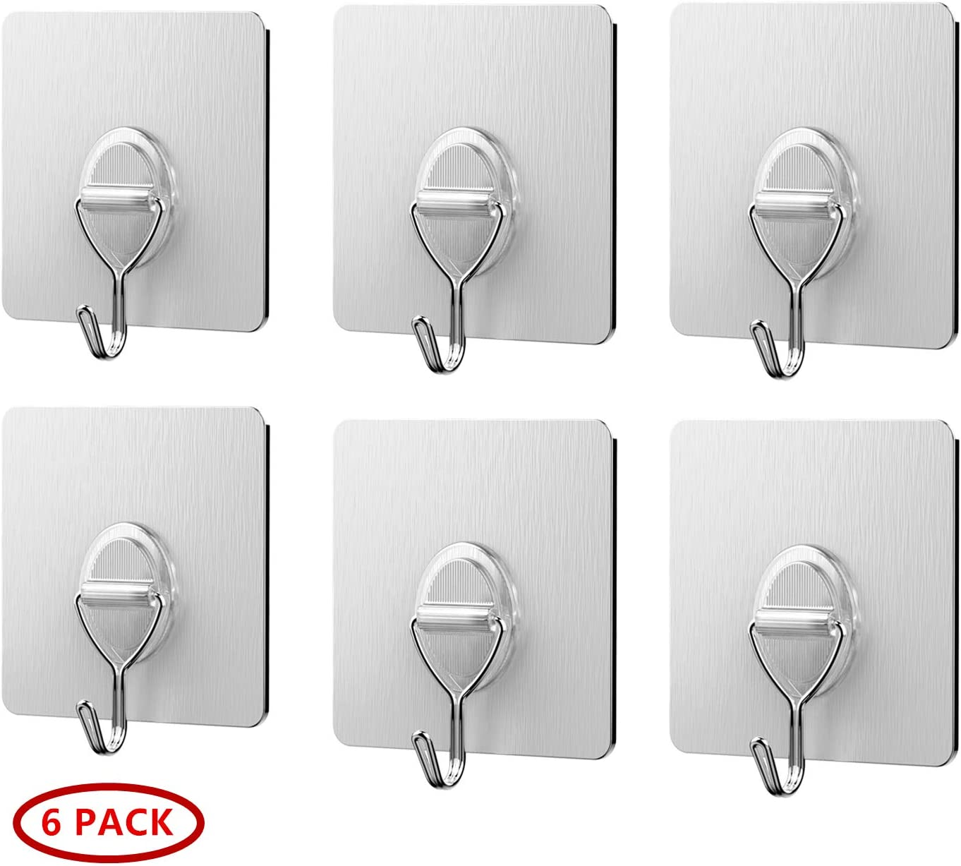 Traceless Adhesive Hook, Einfagood Strong Wall Hook, Sticky Hook Suitable for Kitchen, Bathroom, Bedroom, Office (Silver 6 Pcs)