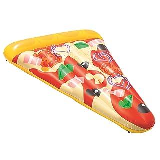Bestway- Poltrona Materassino Pizza Party con Portabicchiere Portata Massima 90 kg, Multicolore, 188 x 130 cm, 44038