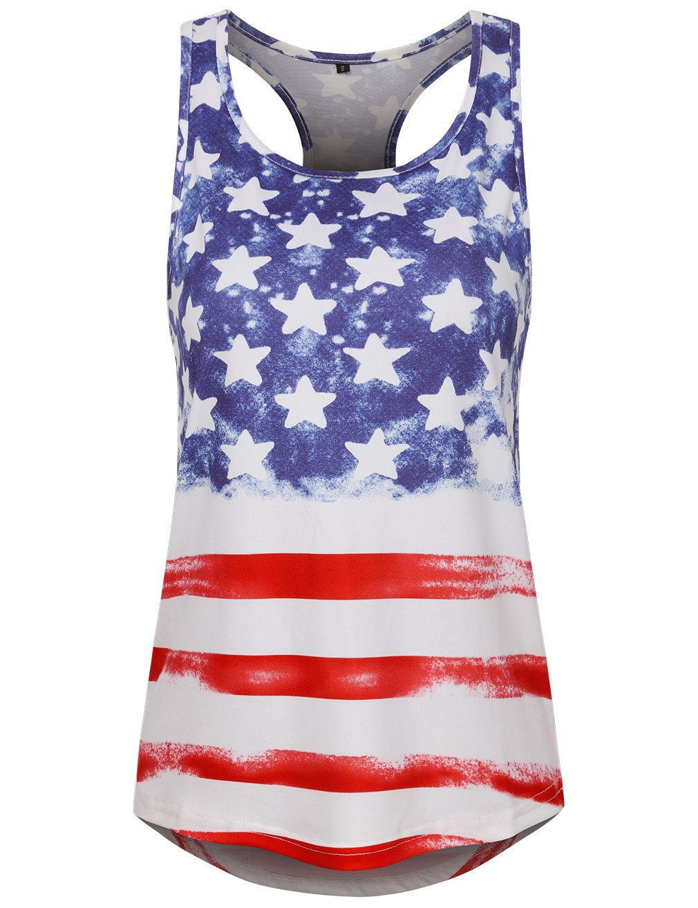 SUNGLORY Flag Tank Tops for Women,Summer Loose Printed Tunic Shirts