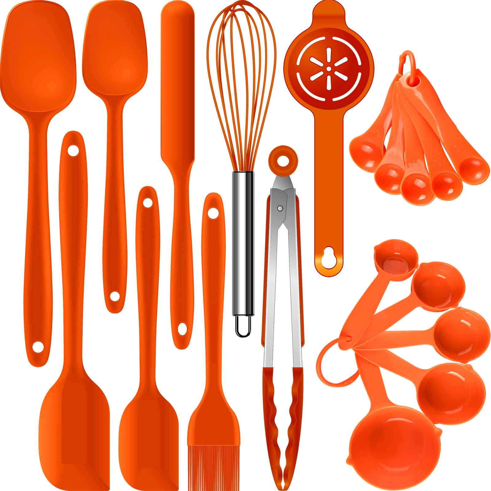 Silicone Spatula Set - Spatulas Heat Resistant,Rubber Spatula Set, Mixing/Baking Utensils,Cooking Spatulas for Nonstick Cookware,Kitchen Spatula Tools,BPA-Free. Dishwasher Safe.(Orange)