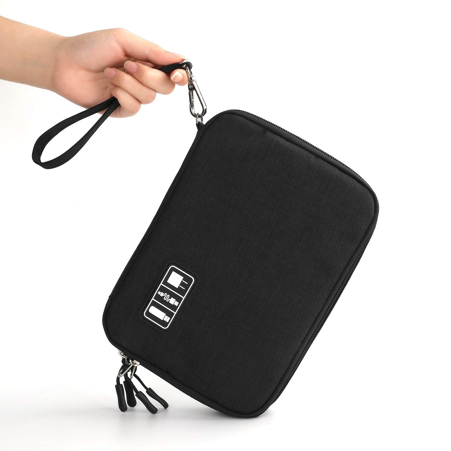 Electronics Organizer, Jelly Comb Electronic Accessories Cable Organizer Bag Waterproof Travel Cable Storage Bag for Charging Cable, Power Bank, iPad (Up to 11'' and More-Large(All Black) by Jelly Comb (Image #7)