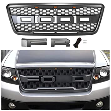 Seven Sparta Grill for F150 2004-2008 Raptor Style Grill, Grill Replacement for Ford (Grey)