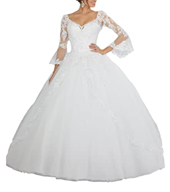 6fbafc8e9eb DreHouse Women s Lace Princess Tulle Beaded Wedding Dresses 2017 Bridal  Ball Gowns Plus Size at Amazon Women s Clothing store