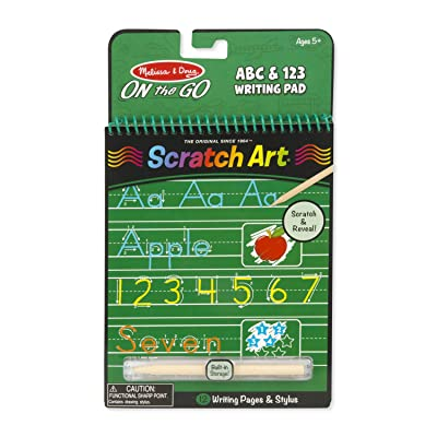Melissa & Doug On the Go Scratch Art: ABC & 123 Writing Pad With Stylus: Melissa & Doug: Toys & Games
