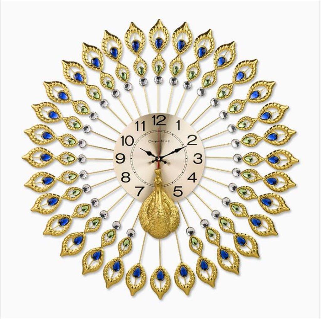 YFF-壁時計 ヨーロッパのクリエイティブレトロピーコックの壁時計大きなリビングルームヨーロッパのファッション時計と時計現代ミニマルサイレントクォーツ時計 ( サイズ さいず : 58センチメートル ) B07CKSF8BM58センチメートル