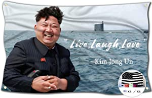Probsin Kim Jong Un Live,Laugh,Love Flag,3x5 Feet Banner,Funny Poster UV Resistance Fading & Durable Man Cave Wall Flag with Brass Grommets for College Dorm Room Decor,Outdoor,Parties,Gift,Tailgates