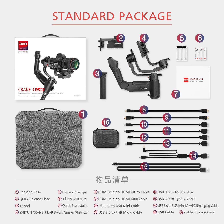 Zhiyun WEEBILL Lab estabilizador de card/án de Mano con Carga m/áxima de 3 kg con Estructura vers/átil transmisi/ón de Imagen inal/ámbrica y viaTouch Compatible con c/ámara Sony Canon Panasonic sin Espejo