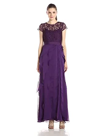 papell gown drapes polyester adrianna dresses yoke lace drape bridesmaid
