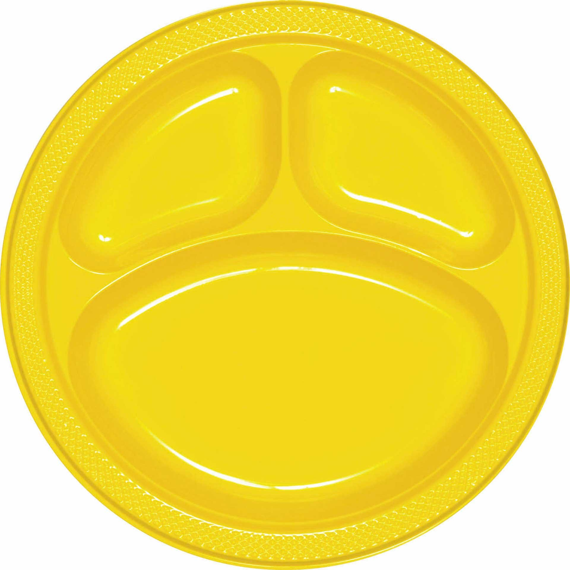 School Bus Yellow (Yellow) Plastic Divided Dinner Plates Party Accessory