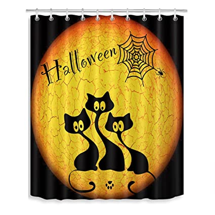 LB Halloween Shower CurtainBlack Cat Spider Web Nightmare Before Christmas Curtain For Bathroom