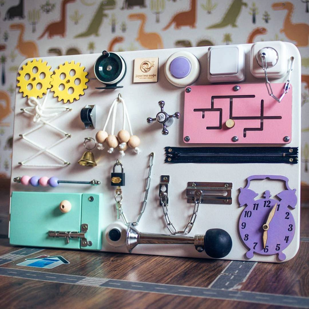 Shafa Handmade Wooden Busy board, Clever Puzzles, Locks and Latches Activity Board European quality.