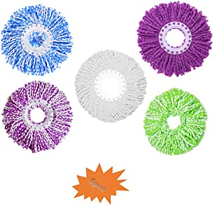 5 Replacement Microfiber Refill Heads for 360° Spin Magic Mop-Microfiber Replacement Mop 5 Color