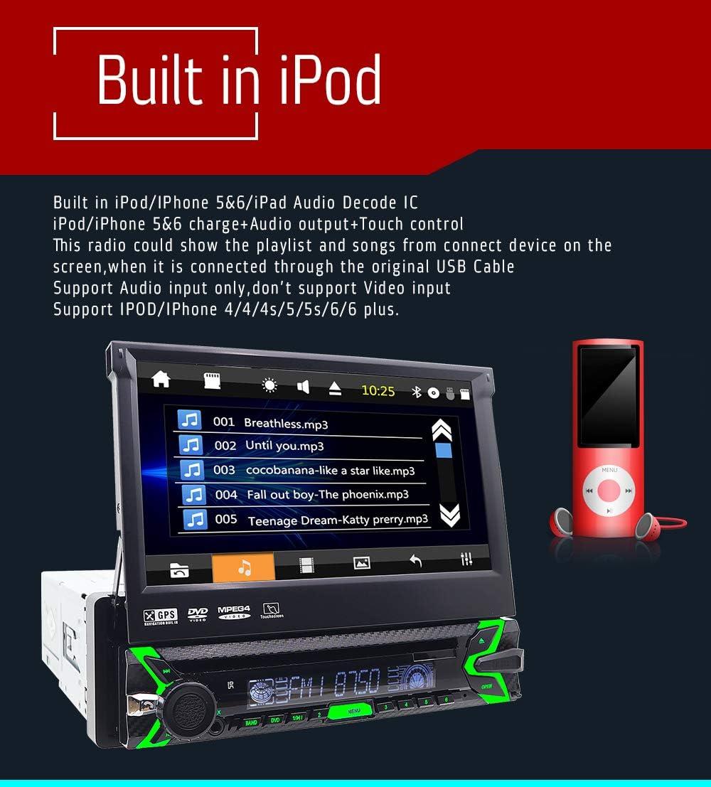 FOIIOE Radio estéreo universal para coche con 1 DIN estéreo con 8 GB de navegación GPS para coche reproductor de DVD en el salpicadero 7 pulgadas ...