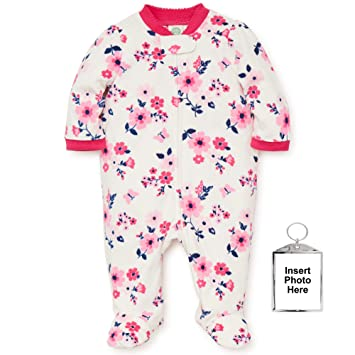 78c9853a6 Amazon.com  Little Me Warm Footed Fleece Baby Pajamas Floral Blanket ...