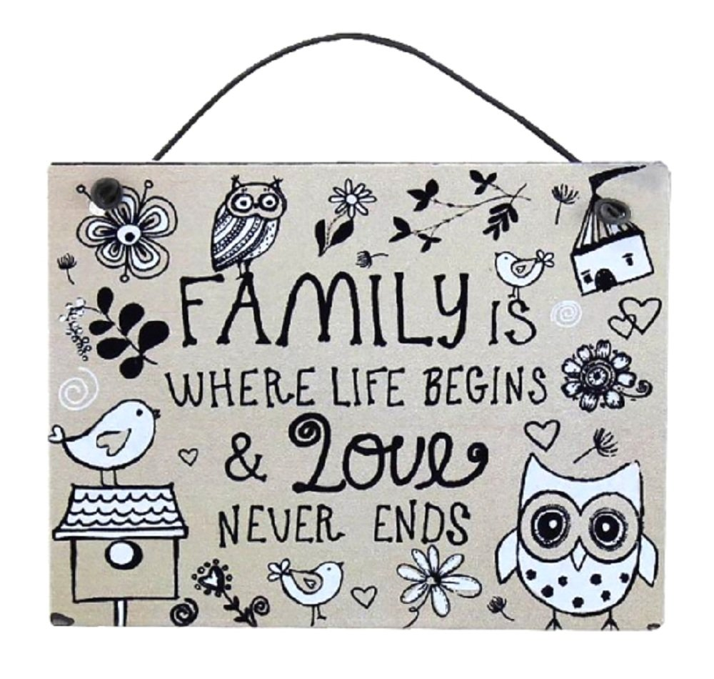 Targa da appendere con stampa, motivo: famiglia, vita, amore, gufo - piccola Lesser & Pavey