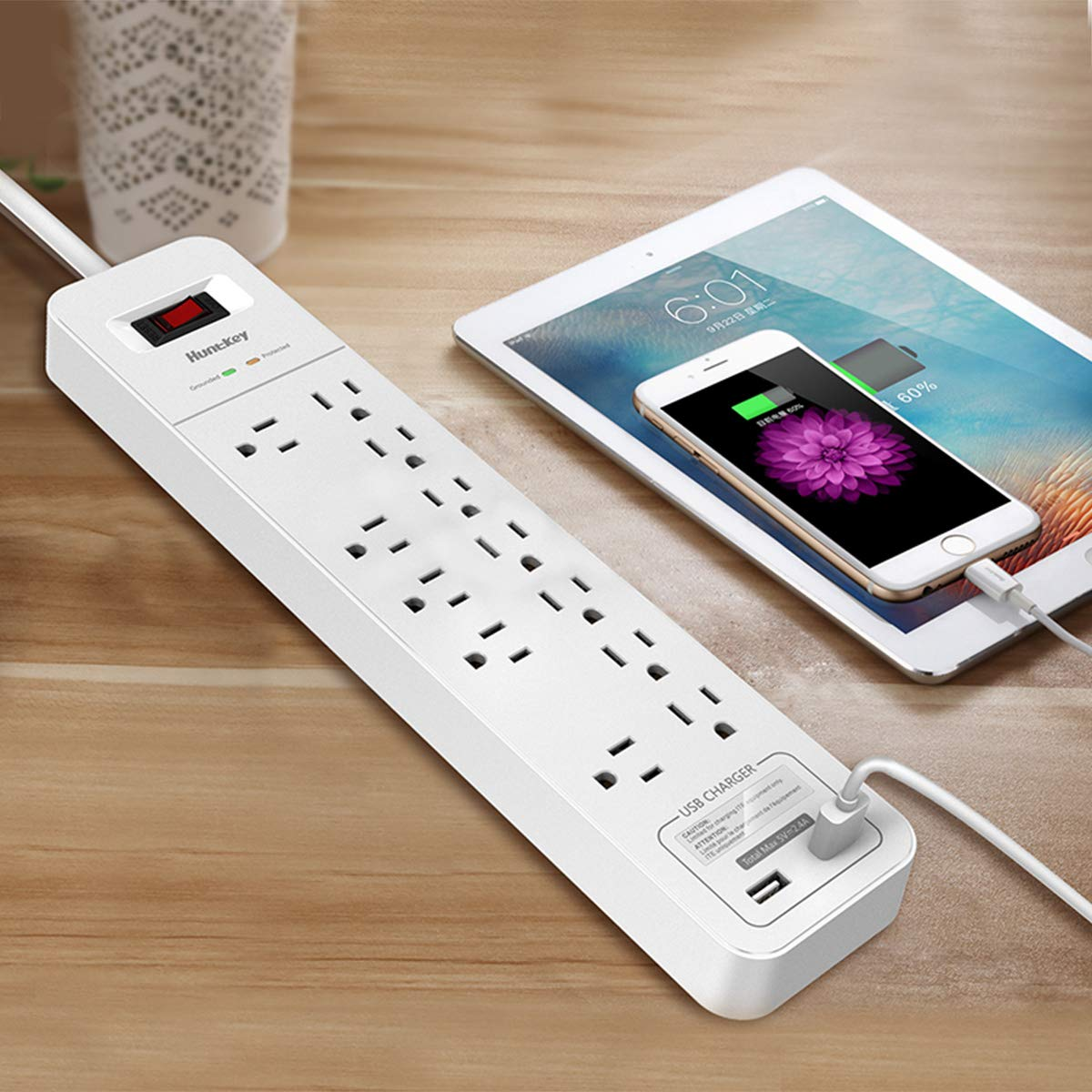 Huntkey 12 Outlets Surge Protector Power Strip with 2 USB Ports (5V 2.4A with Smart IC Technology), 6-Foot Heavy Duty Extension Cord, SMC127 by Huntkey (Image #5)