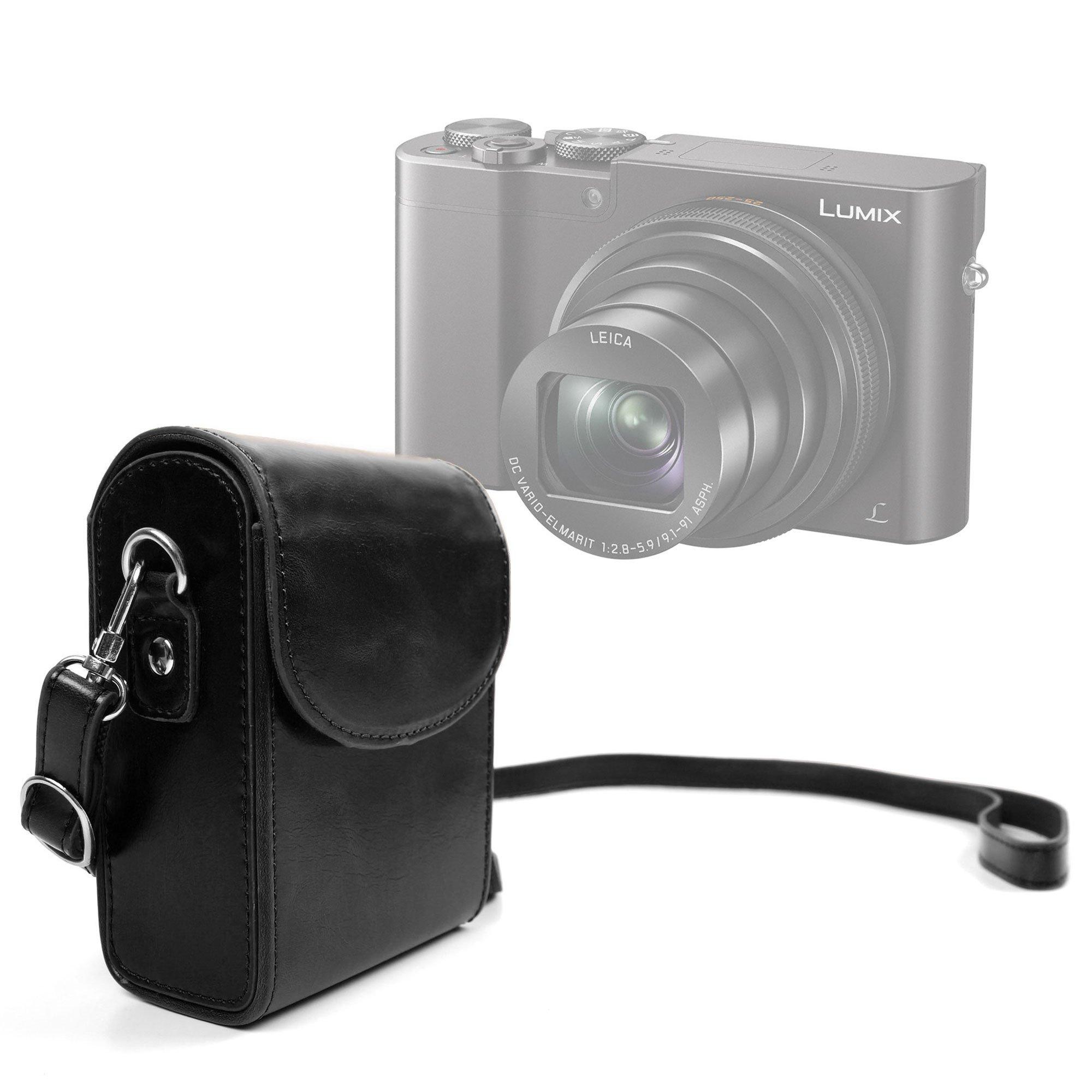 DURAGADGET Durable & Ultra-Portable, Retro-Inspired Compact Camera Case in Classic Black for NEW Panasonic Lumix TZ80 / Lumix TZ100(SZ100) / Lumix DMC-ZS100 / Lumix DMC-ZS60(TZ60)