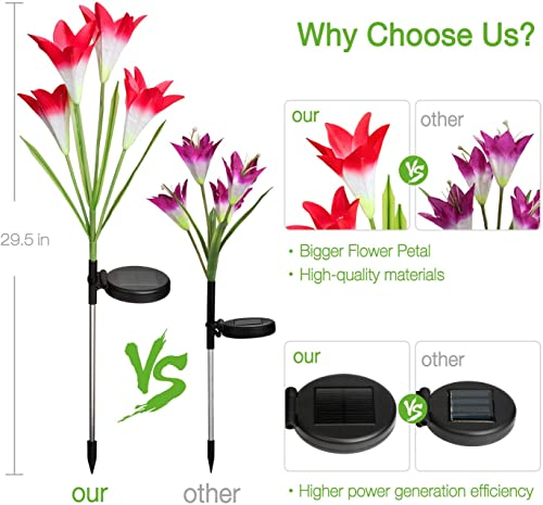 Outdoor Solar Lights, KOOPER 2 Pack Solar Garden Lights with 8 Bigger Lily Flowers, 7 Color Changing Outdoor Lights, Bigger Solar Panel Waterproof, for Garden Patio Yard Pathway Decoration