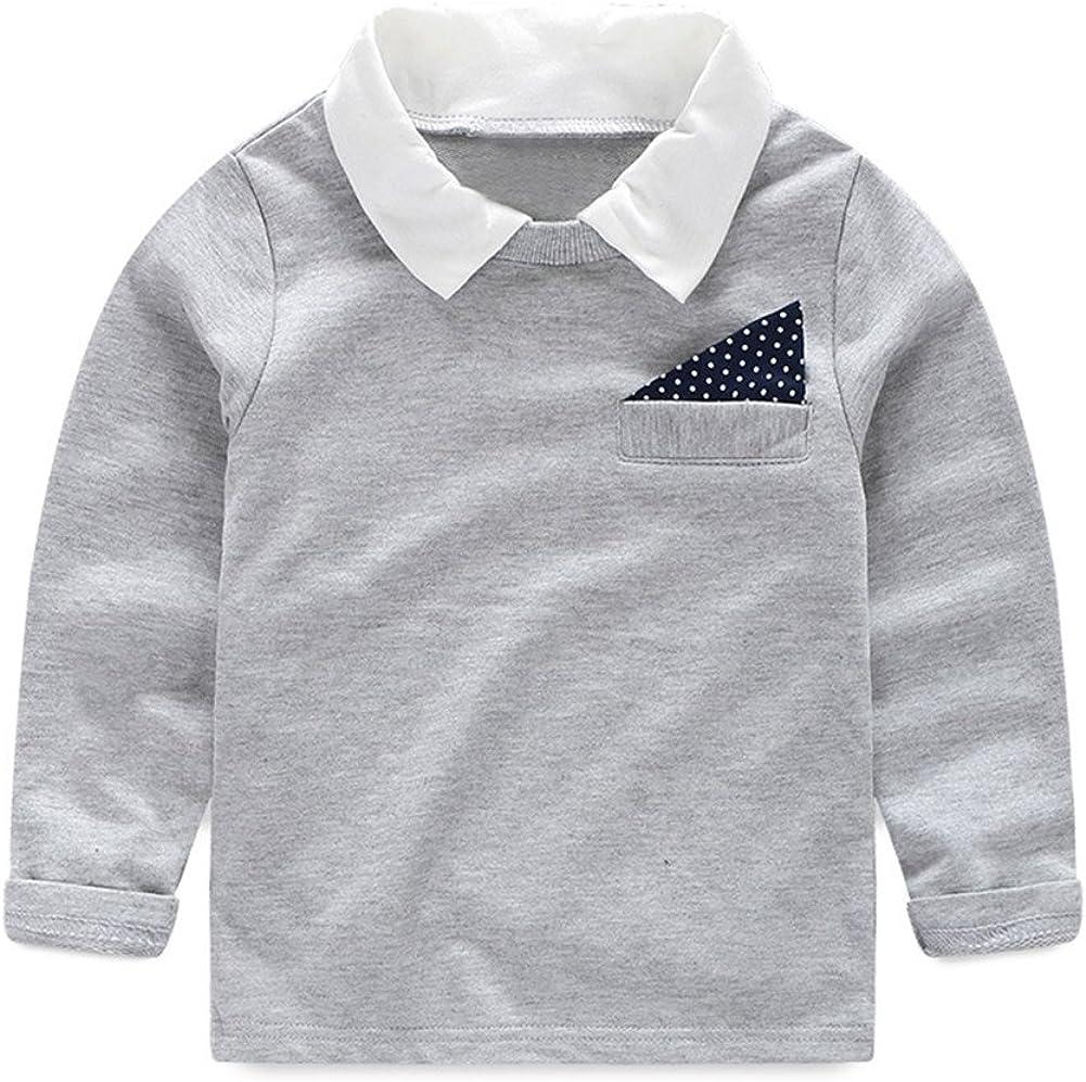 LittleSpring Little Boys Long Sleeve Shirt Turn Down Collar Fall Casual