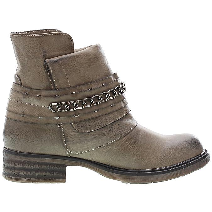 1bdc98165505c Chaussure Mode Bottine Cavalier Motard Cheville femmes Chaïnes boucle Talon  bloc 3 CM - Intérieur fourrure synthétique - fourrée - UK 6 - Gris -  FRF-3309-2 ...