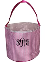 Personalized Childrens Seersucker Bucket Tote Bag - Toys- Easter