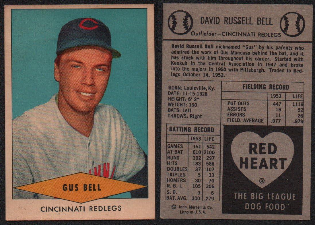 1954 Red Heart Dog Food Regular (Baseball) Card# 3 Gus Bell of the Cincinnati Reds Ex Condition