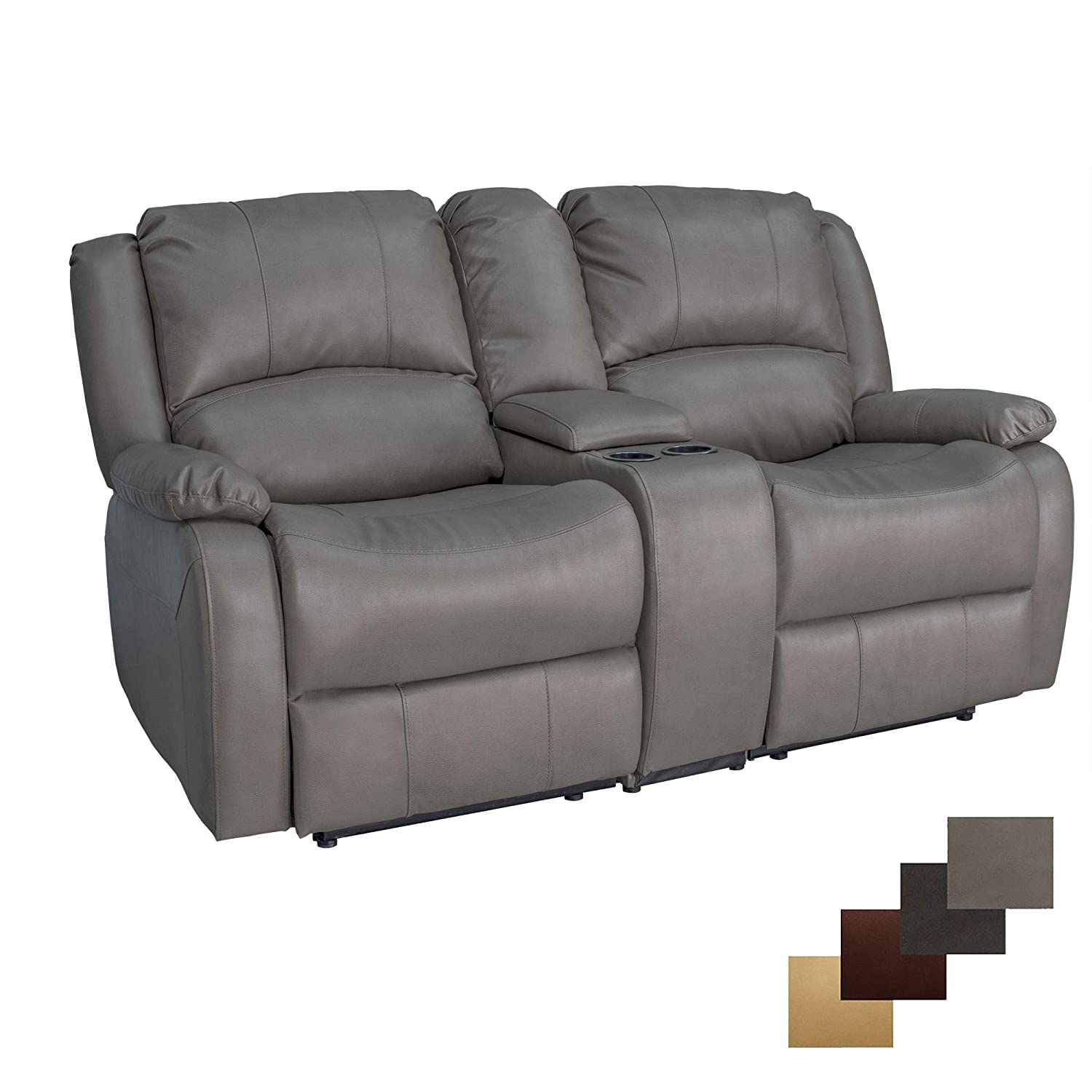 """RecPro Charles Collection   67"""" Double Recliner RV Sofa & Console   RV Zero Wall Loveseat   Wall Hugger Recliner   RV Theater Seating   RV Furniture   RV Sofa   RV Sofa Bed   RV Couch   Putty"""
