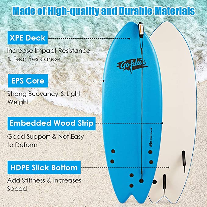 Vbest life Aleta de Tabla de Surf de 9 Pulgadas Reemplazo de Accesorio de Surf de Aleta de Fibra de Nylon port/átil Largo Blanco
