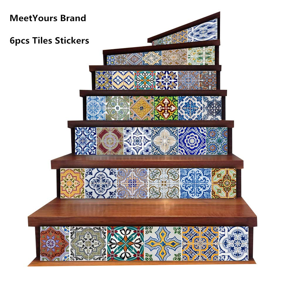 Meetyours Tiles Stickers For Kitchen Stairs Bathroom Tile Decals