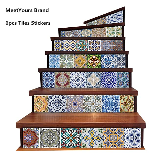 Pegatinas de Baldosas Backsplash, DIY impermeable Peel y Stick Home Decor Talavera StairCase Decal Stair Mural Decalques para Escaleras Bathroom Kitchen, 18cm x 100cm x 6PCS