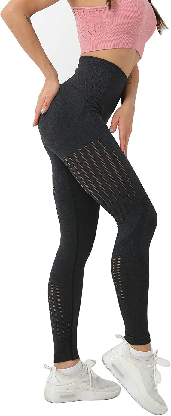 Amazon.com: Leggings sin costuras de cintura alta para mujer ...
