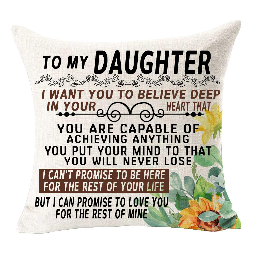 Buy To My Daughter I Want You To Believe Deep In Your Heart Best Gift Sunflowers Square Cotton Linen Decorative Throw Pillowcase Couch Pillow Cover Cushion Case For Family Bed Sofa Couch
