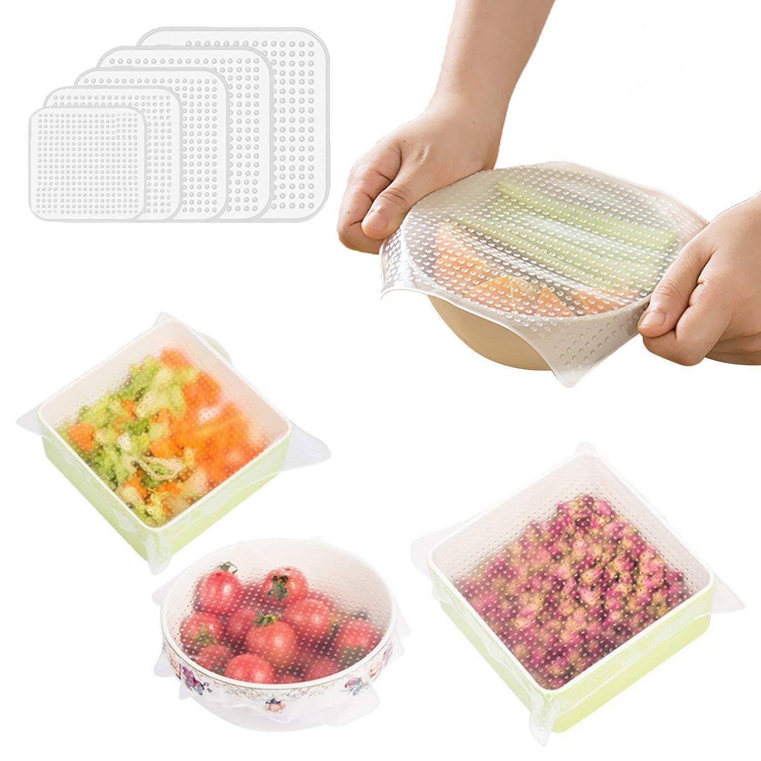JRing 5pcs Silicone Bowl Covers, Reusable Silicone Food Saver Wraps, Silicone Stretch Lids for Bowl, Can, Jar, Glassware, Food Saver Covers Dishwasher, Microwave and Freezer Safe