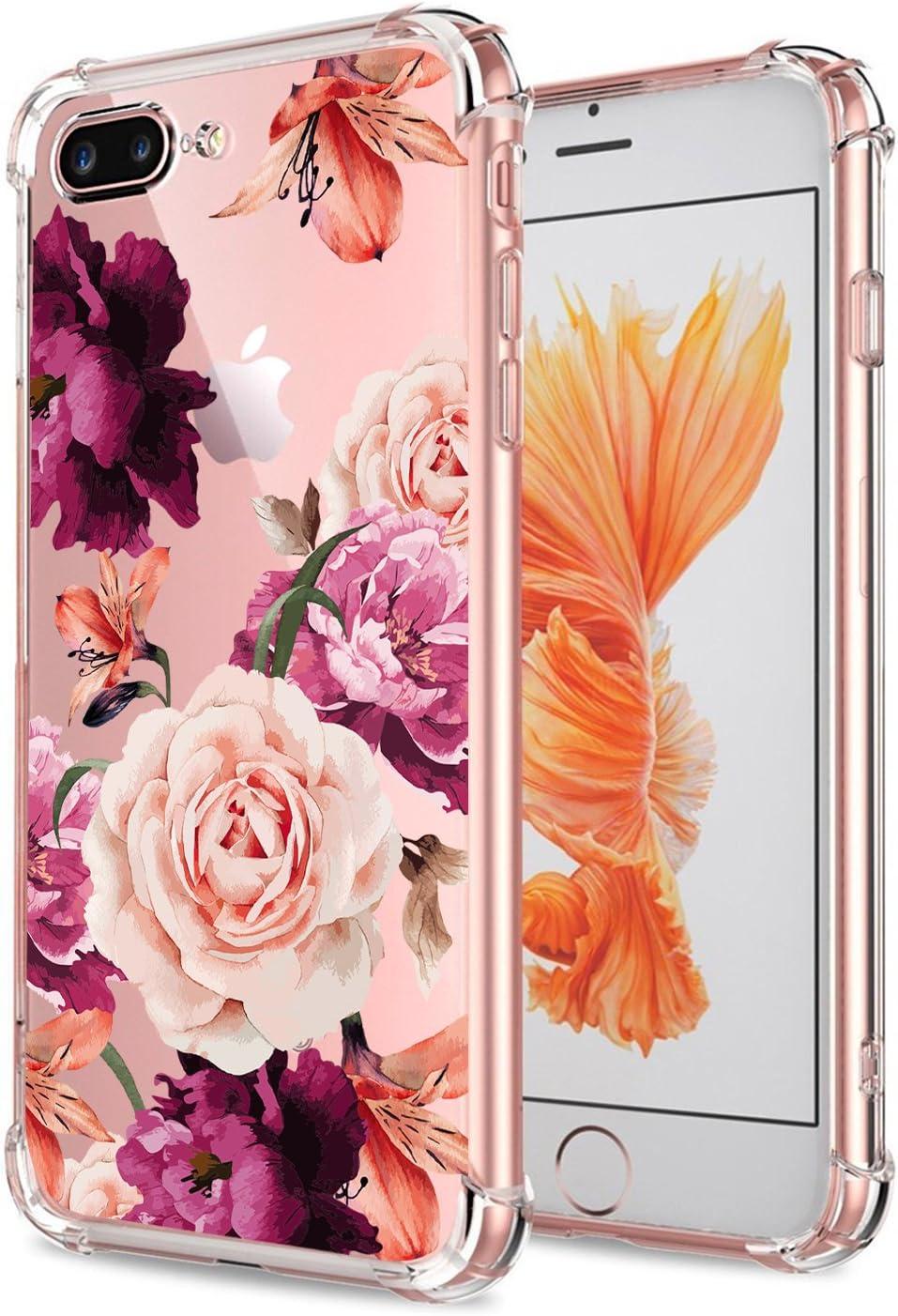 Amazon Com Iphone 7 Plus 8 Plus Case Women Flowers Floral Pattern