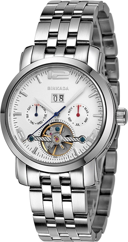 BINKADAクラシック自動機械ホワイトダイヤルメンズ腕時計# 800501 – 1 B01DZLSU52
