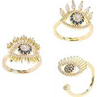Gold Tone Evil Eye Open Adjustable Ring Blue crystal Statement Stacking Ring Set 3 Pcs Women Teens Girls