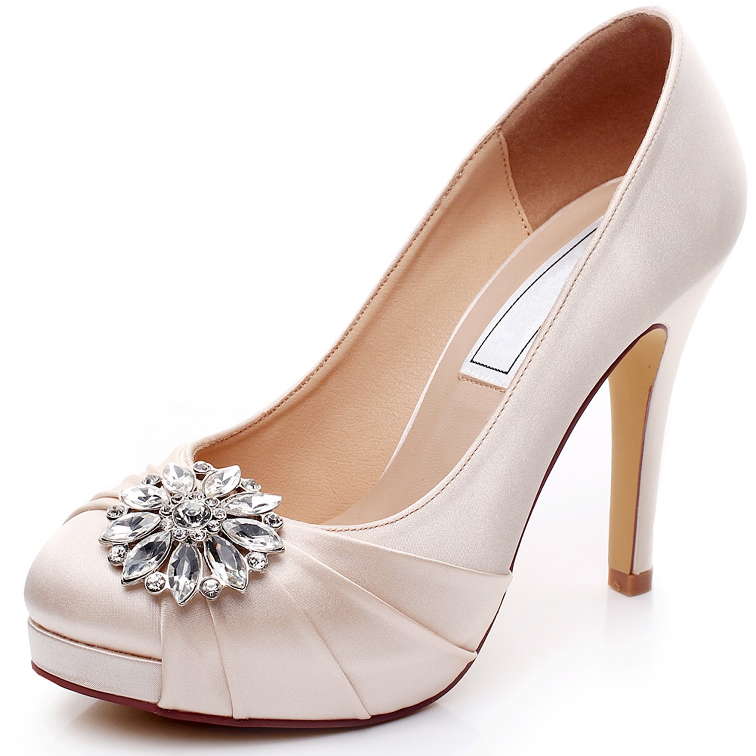 2f1c5662ca8 YOOZIRI Satin Wedding Shoes Combining Lace and Rhinestone Brooch High Heel Bridal  Shoes for Women 4.5inch-Peep Toe-EUR42  Amazon.co.uk  Shoes   Bags