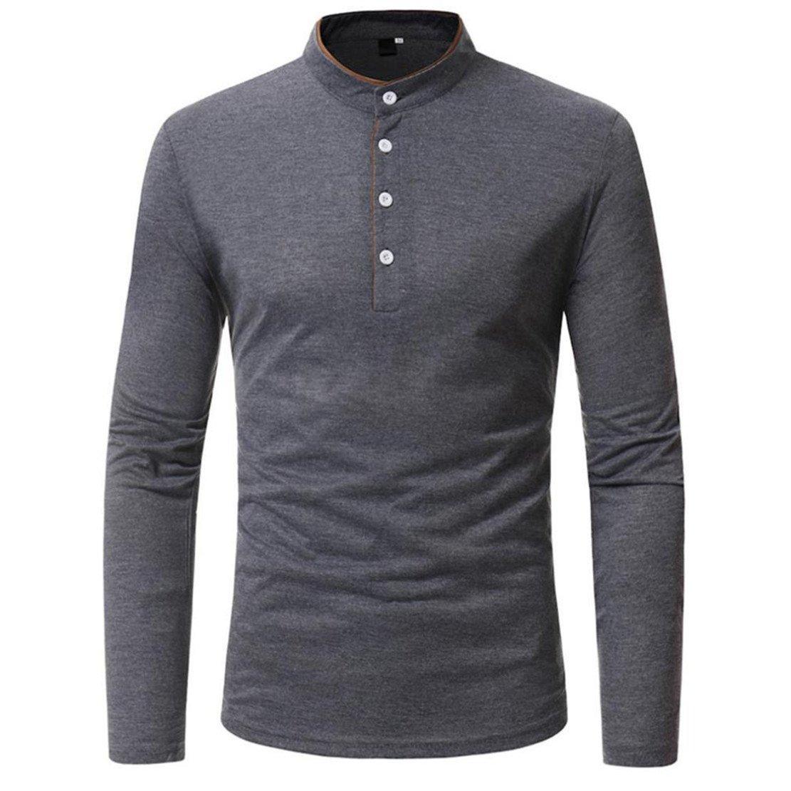 Bluestercool T-Shirt da Uomo Manica Lunga con Bottoni Polo Maglietta Autunno