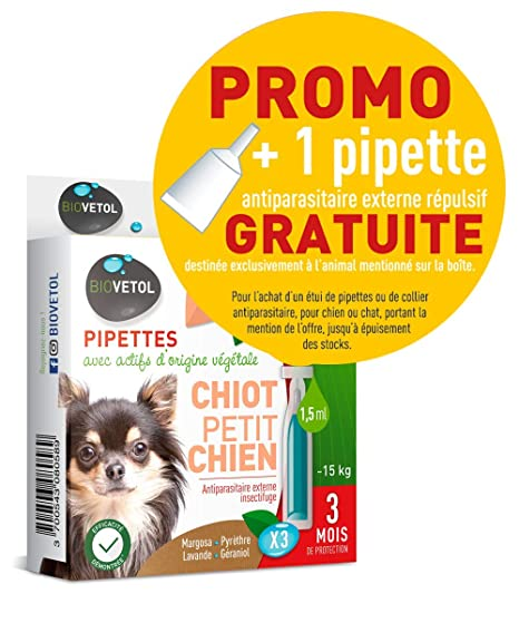biovetol – Pipeta antipulgas para cachorro y perro pequeño -15 kg – X3