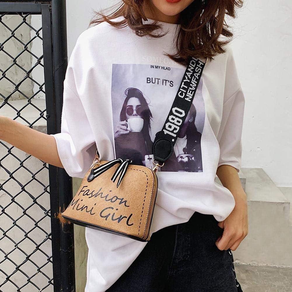 Bolso de Mensajero Retro de Cuero de Mujer con Correa de Hombro Ancha marr/ón Claro Color : Brown, Size : Style 01