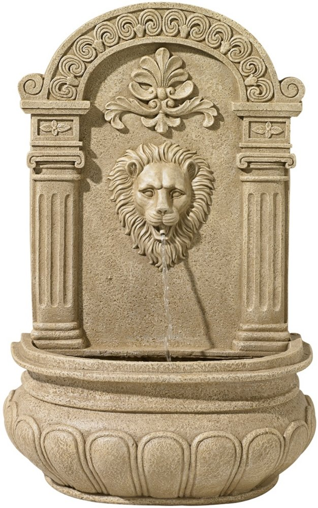 Sand Finish Lion Face 31'' High Wall Fountain