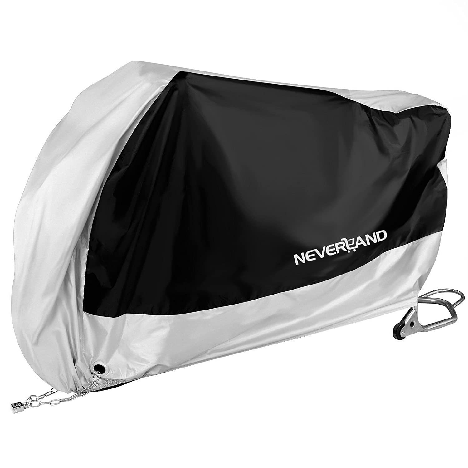NEVERLAND Motorcycle Cover, Indoor Waterproof UV Dust Protector Cover, 2 Stainless Steel Lock-Holes Fit less than 71' Scooter, Small Displacement Off-Road 2 Stainless Steel Lock-Holes Fit less than 71 Scooter