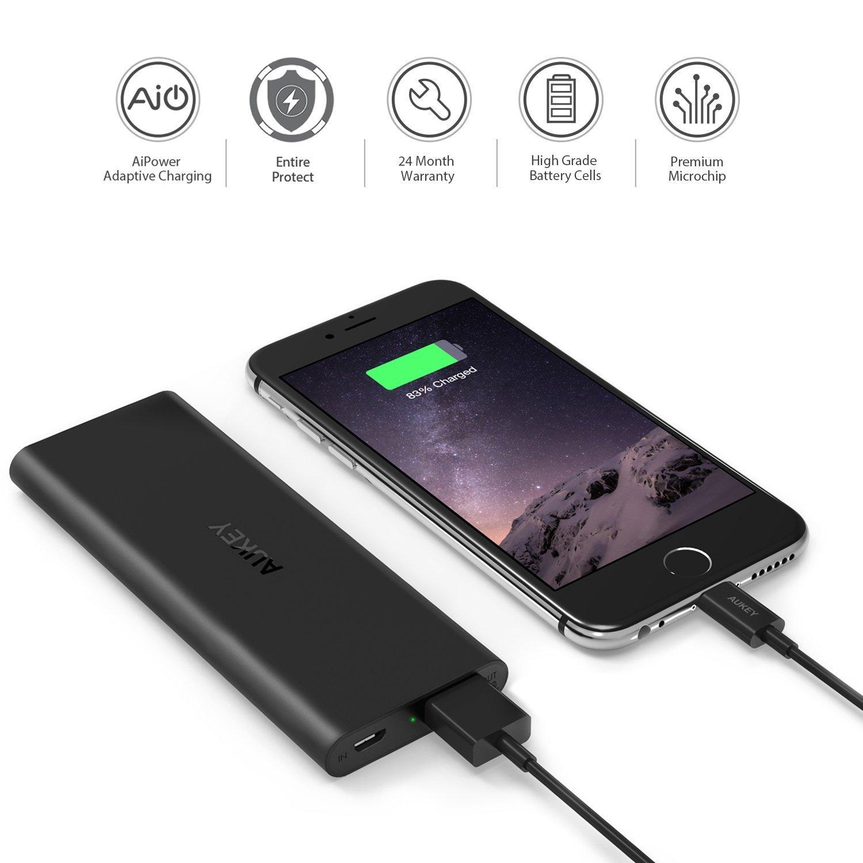 Aukey Quick Charge 2.0 - Batería portátil de 6000 mAh, Color Negro