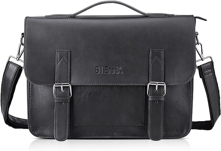 Messenger Bag PU Leather Briefcase Shoulder Satchel Bag for  Men Crossbody Purse