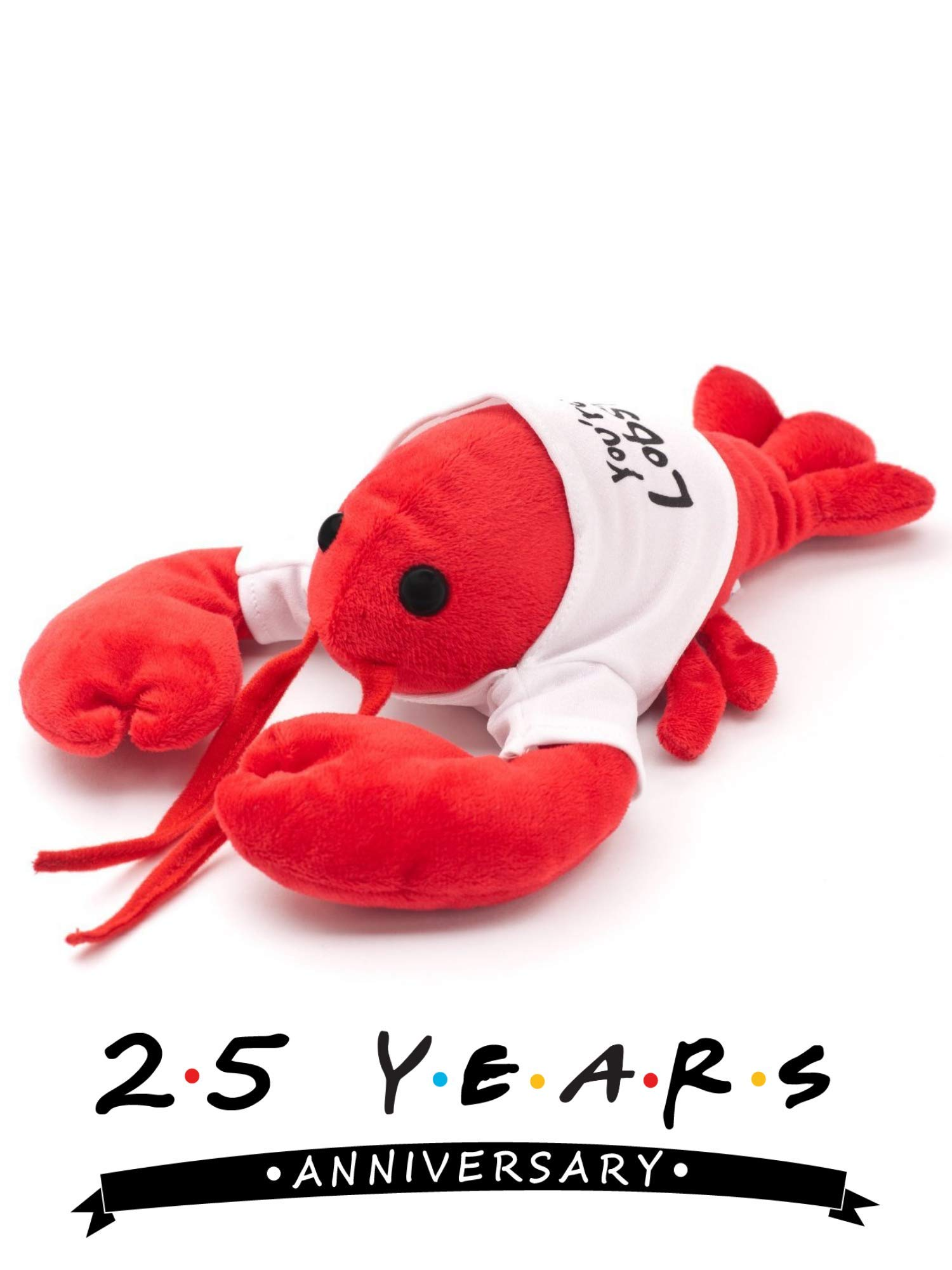 Cool TV Props Friends You're My Lobster Plush Friends Lobster Stuffed Animal Plush - Ross Geller Rachel Green Lobster Stuffed Animal in Cute White T-Shirt - 8'' (20cm) Head to Tail, 6'' (15cm) Claw to by Cool TV Props